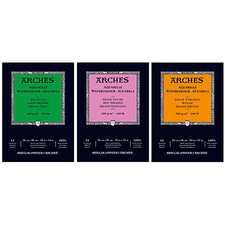 Arches Watercolour pad - sheets 100% cotton - glued on 1 side