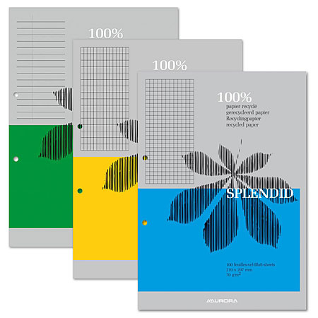 Aurora Splendid - notepad - 70g/m² recycled paper - 100 sheets A4 - 2 perforations