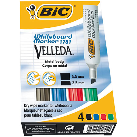 Bic Velleda 1781 - card box - 4 assorted markers for dry wipe - chisel tip (3,5-5,5mm)