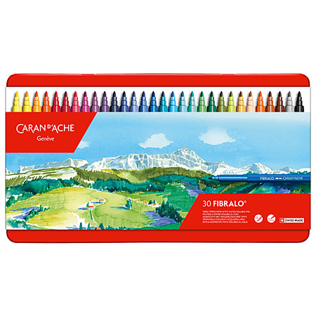 Caran d'Ache Fibralo - metal case - assorted water soluble felt-tip markers