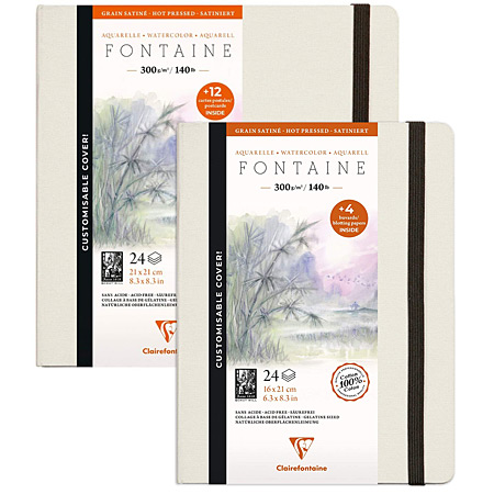 Clairefontaine Fontaine - watercolour book - customisable cover - 24 sheets 300g/m² - 100% cotton - hot pressed