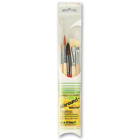 Da Vinci Allround - set of 5 school brushes - natural & synthetic fibres - assorted round & flat - short handle