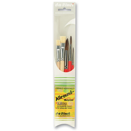 Da Vinci Allround - set of 5 school brushes - natural hair - assorted round & flat - short handle