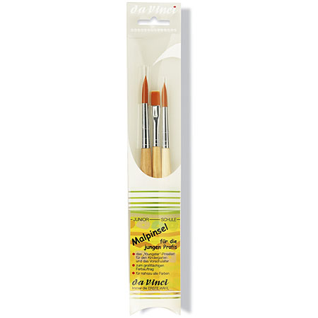 Da Vinci Set of 3 school brushes - synthetic fibres - assorted round & flat - short handle