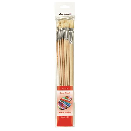 Da Vinci - Set of 10 brushes - series 23 - bristle hair - flat - long handle - n. 1 to 18