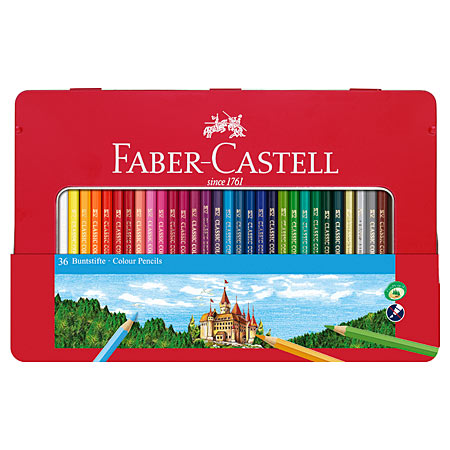 Faber Castell Metal tin - assorted coloured pencils