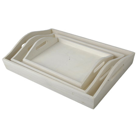 Peacock Set of 3 stowable wooden trays - rectangular - 37.5x27x8cm