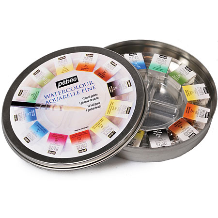 Pébéo Fine watercolour - round metal box - assorted half pans & 1 brush