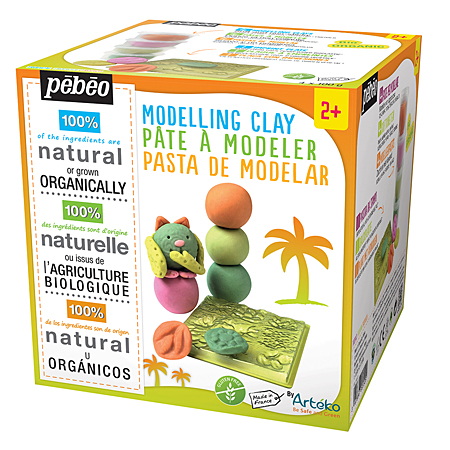 Pébéo Modelling Box - 4 assorted 100g jars modelling paste + 1 texture plate