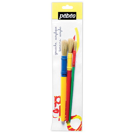 Pébéo Set of 3 brushes - bristles - round (S-M-L)