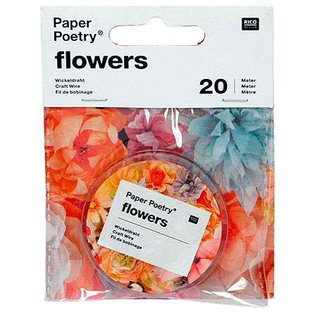 Rico Design Paper Poetry Flowers - draadwinding - 20m - zilver
