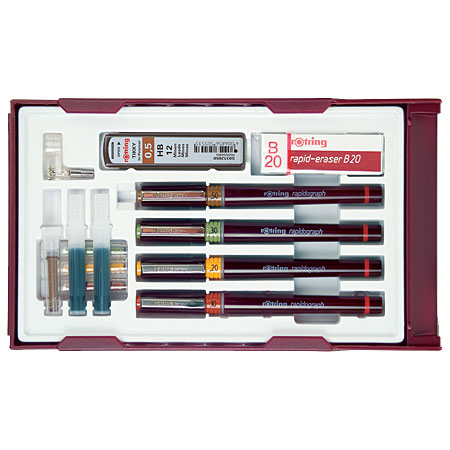 Rotring Rapidograph College Set - 4 rapidographs (0,25/0,35/0,5/0,7mm) & accessoires