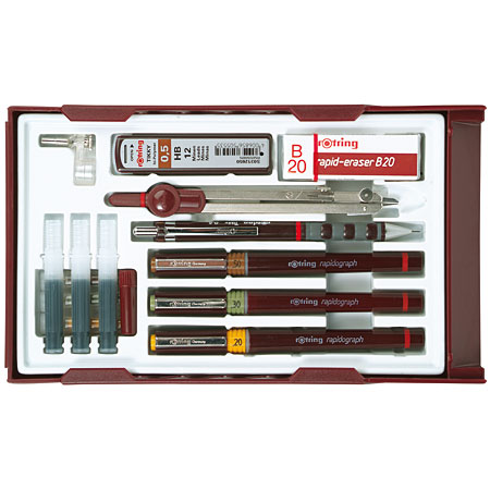Rotring Rapidograph Master Set - 3 rapidographs (0,25/0,35/0,5mm), 1 porte-mine Tikky (0,5mm),1 compas & accessoires