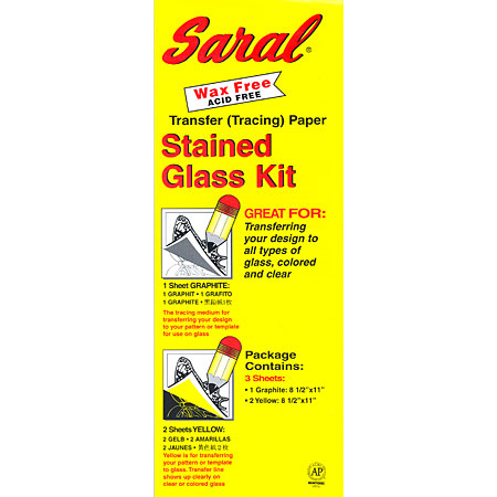 Saral Stained Glass Kit - papier transfert - set de 3 feuilles 21,6x28cm - 1 graphite & 2 jaunes