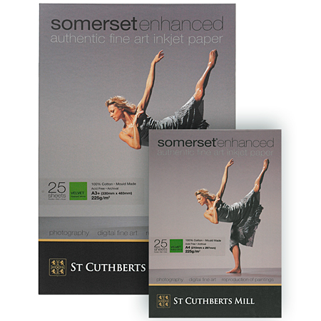 Somerset Enhanced - 100% cotton paper for digital print - 225g/m² - box of 25 sheets - velvet