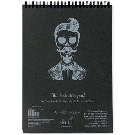 SM-LT Art #authenticpad - wire-bound coloured paper pad - 30 sheets 165g/m² - black