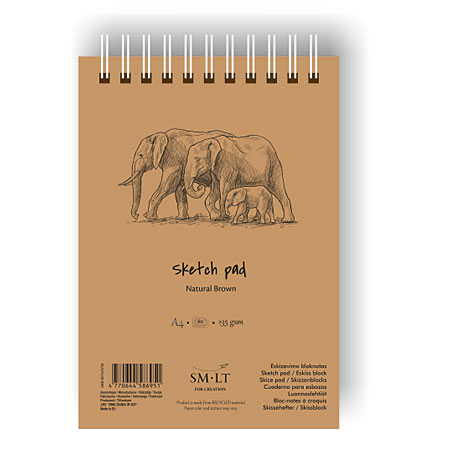 SM-LT Art #authenticpad - wire-bound coloured paper pad - 80 sheets 135g/m² - brown
