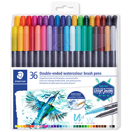 Staedtler Marsgraphic Duo - plastic pouch - assorted watersoluble duo pens (brush tip & round tip 0,5-0,8mm)
