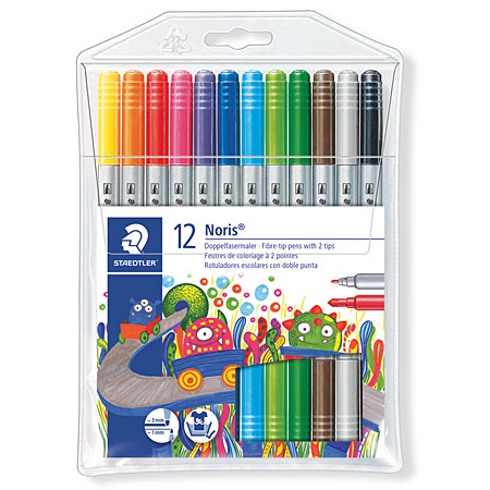 Staedtler Noris Club 320 - plastic wallet - assorted dual tip markers
