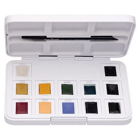 Talens Van Gogh Pocket Box - fine water colours - plastic box -12 half pans
