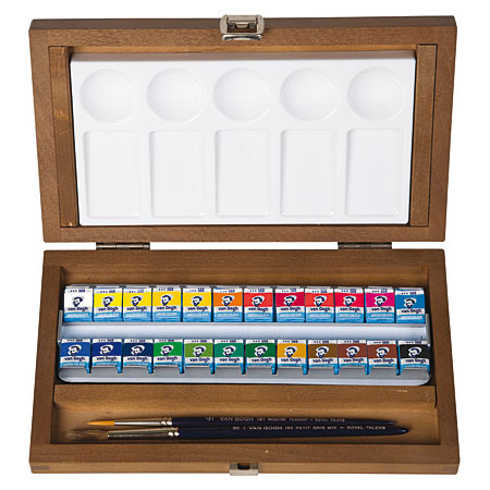 Talens Van Gogh - wooden box - 24 half pans of fine watercolour, 2 brushes & 1 palette