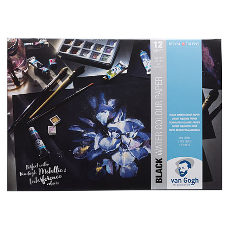 Talens Van Gogh - watercolour pad - 12 black sheets 360g/m² - cold pressed