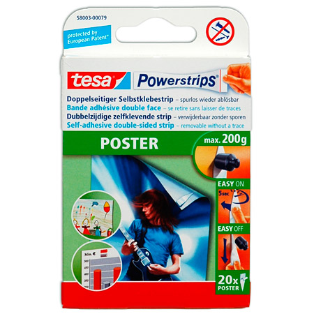 Tesa Powerstrips Poster - box of 20 self-adhesive double-sided strips