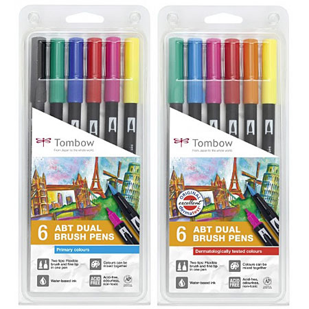 Tombow ABT Dual Brush Pen Plastic Box Assorted Duo Markers - Tombow abt markers