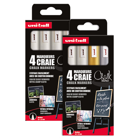 Uni Chalk Marker PWE-5M - pouch of 4 markers - round medium tip (2,5mm)