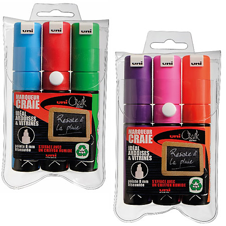Uni Chalk Marker PWE-8K - pouch of 3 markers - chisel large tip (8mm)